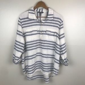 ELLEN TRACY Linen Hi-Low Blue White Striped Blouse